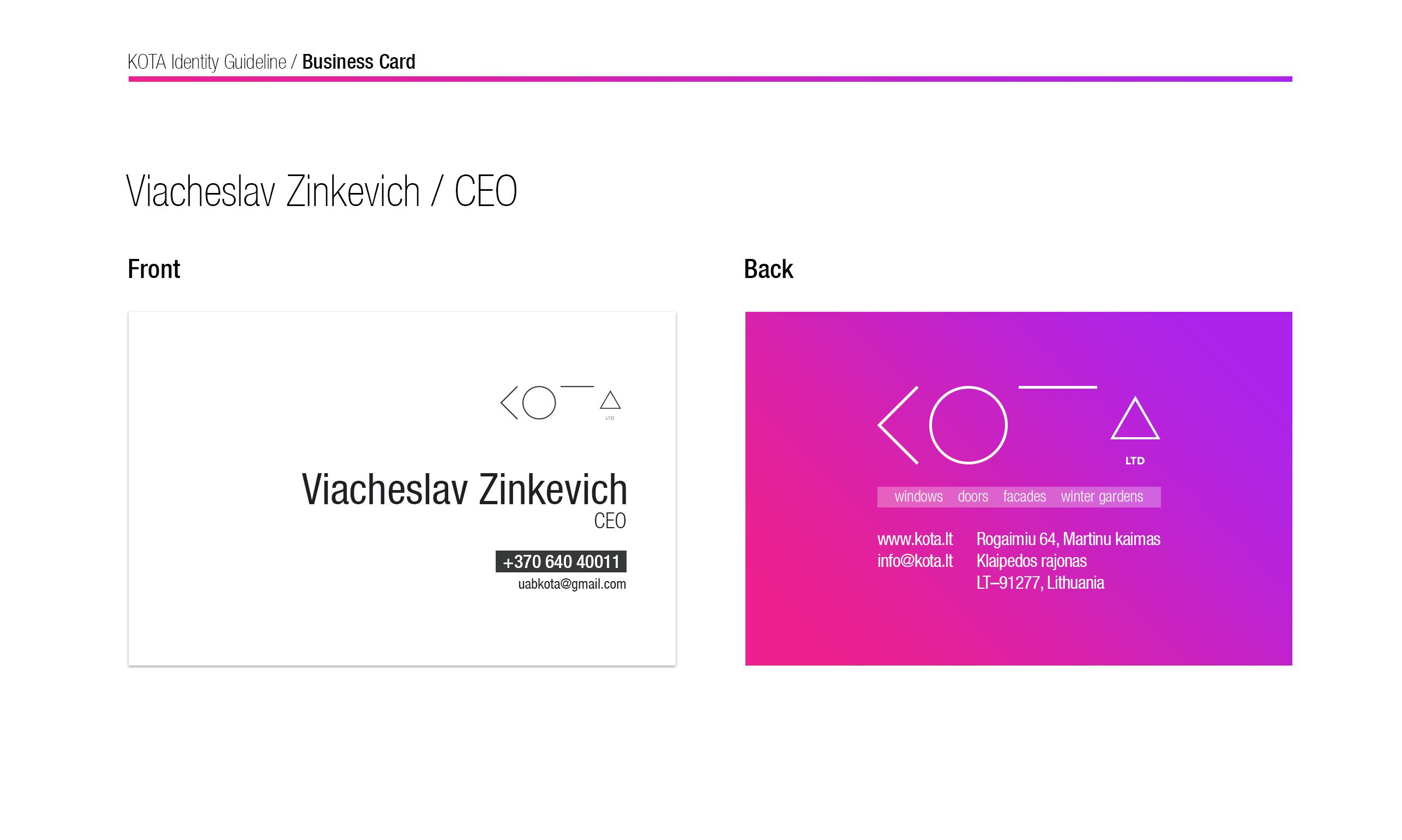 KOTA Business Card